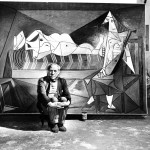 "Picassso In Paris Studio, 1944. ""L'aubade"" in background."