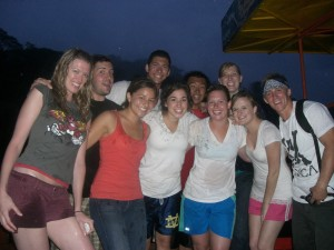 Janea and friends after bungee jumping off a bridge in Costa Rica during a rainstorm