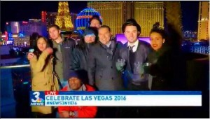 Tasha and I getting our 15 seconds of fame on New Year's Eve.